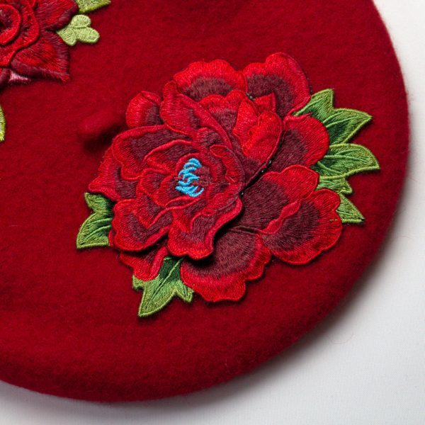 Red Women's Beret with Embroidery Flowers