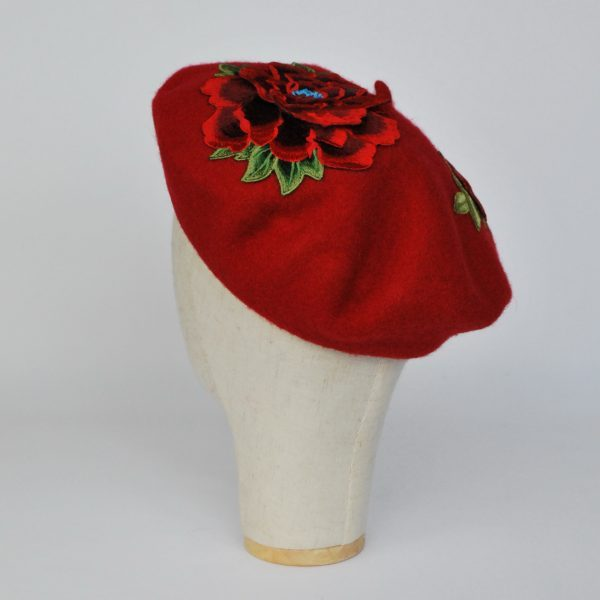 Red Winter Beret Hat with Embroidery Flowers