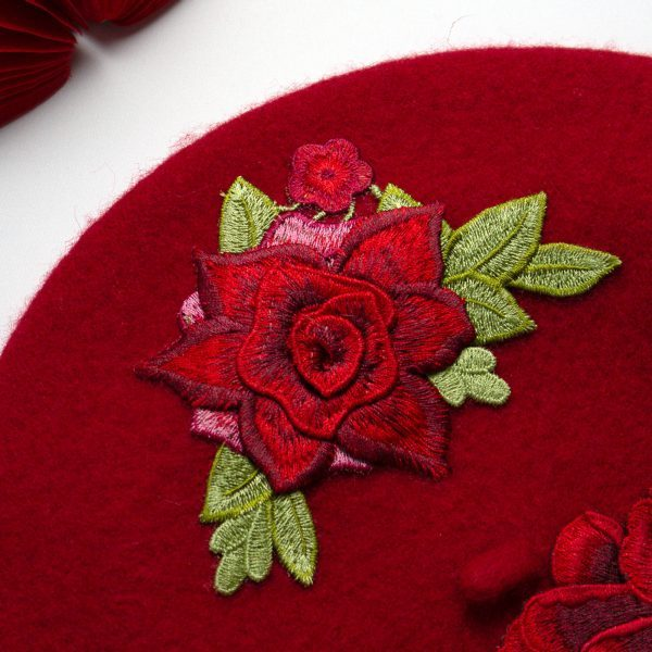 Red French Beret with Embroidery Flowers