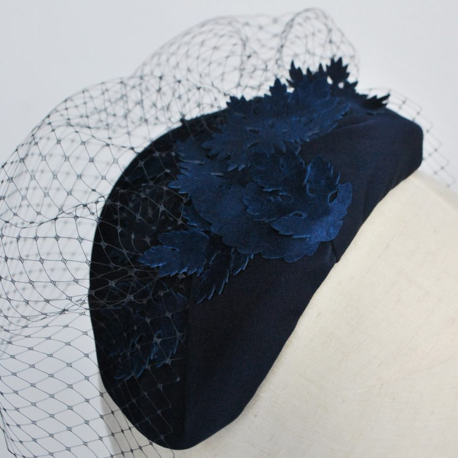 Navy Blue Half Hat with Birdcage Veil and Leather Leaves - back detail