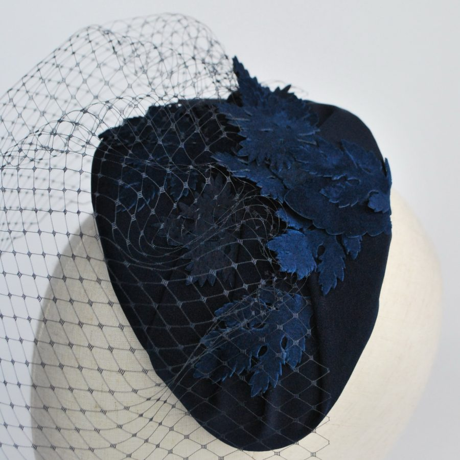 Navy Blue Half Hat with Birdcage Veil and Leather Leaves - detail