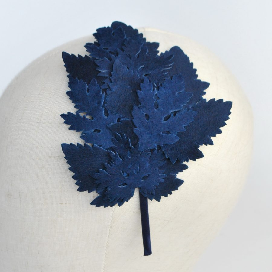 Navy Blue Leather Leaf Fascinator - detail