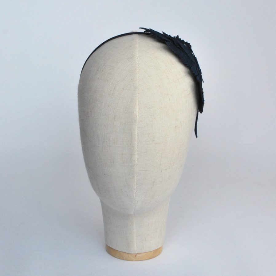 Navy Blue Leather Leaf Fascinator - front