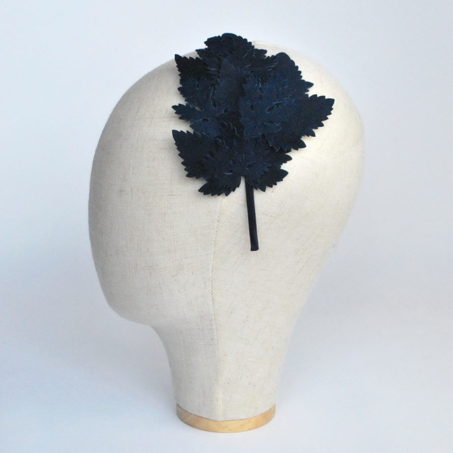 Navy Blue Leather Leaf Fascinator - side