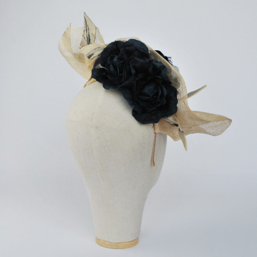 Natural Sinamay Fascinator with Navy Roses and Fabric Curls - back