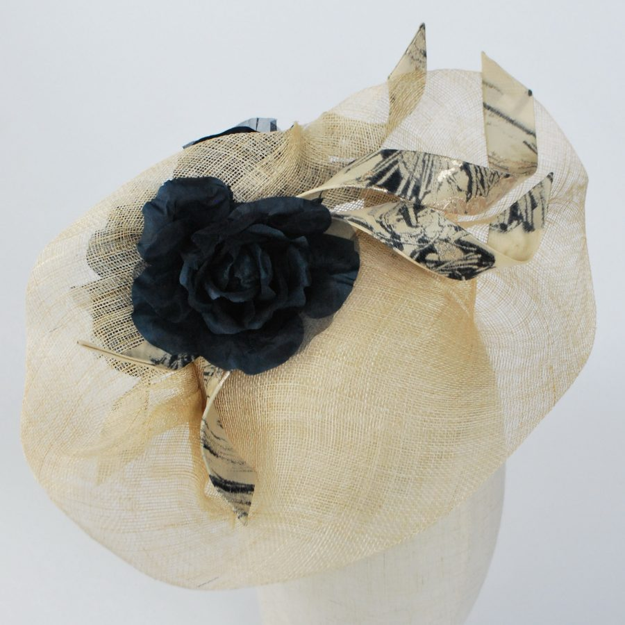 Natural Sinamay Fascinator with Navy Roses and Fabric Curls - detail