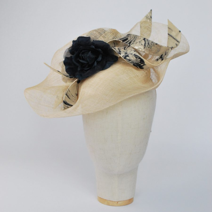 Natural Sinamay Fascinator with Navy Roses and Fabric Curls - front