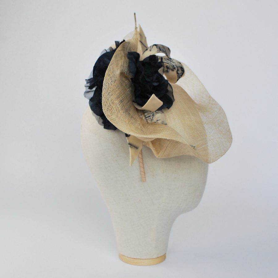 Natural Sinamay Fascinator with Navy Roses and Fabric Curls - side