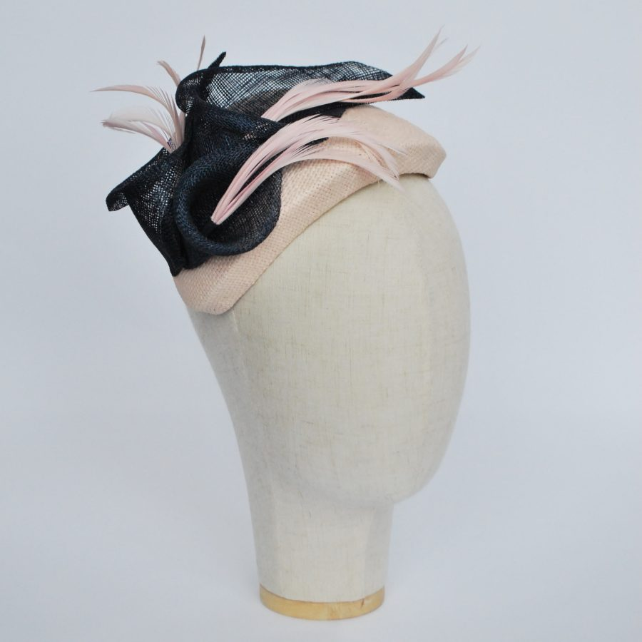 Nude Paper Straw Half Hat with Lilies and Feathers - angle