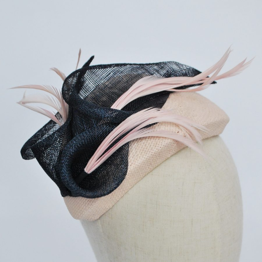 Nude Paper Straw Half Hat with Lilies and Feathers - detail