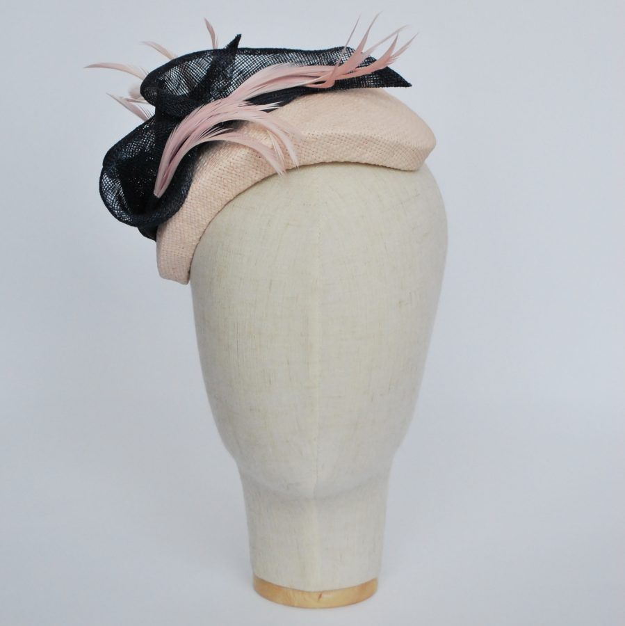 Nude Paper Straw Half Hat with Lilies and Feathers - front