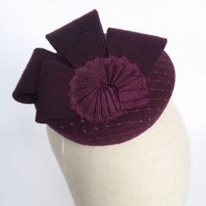Plum Felt Button Hat with Nautilus