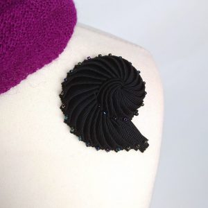 Black Ribbon Nautilus Shell Brooch with Peacock Beads