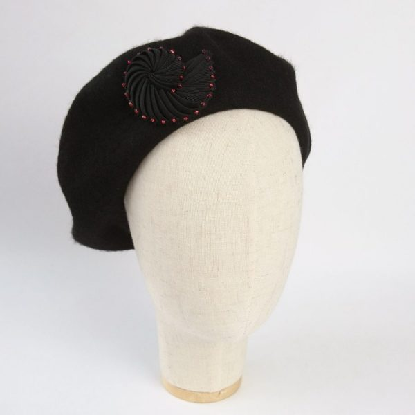 Black Beaded Brooch worn with a beret