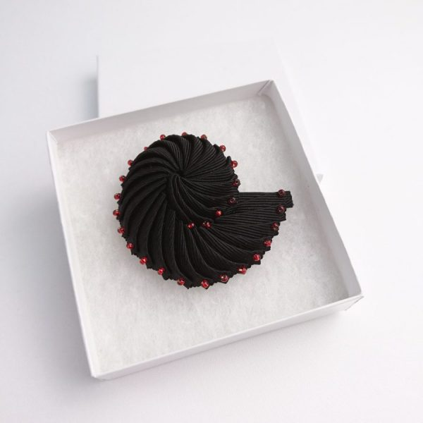 Black Beaded Ribbon Brooch in gift box