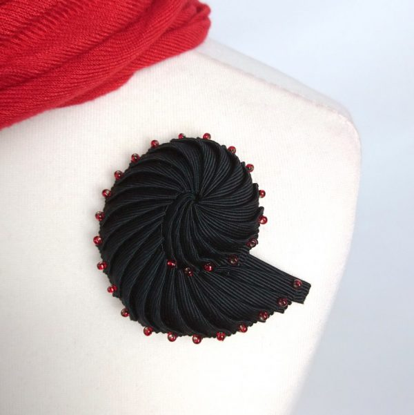 Black Nautilus Brooch with Red Beads