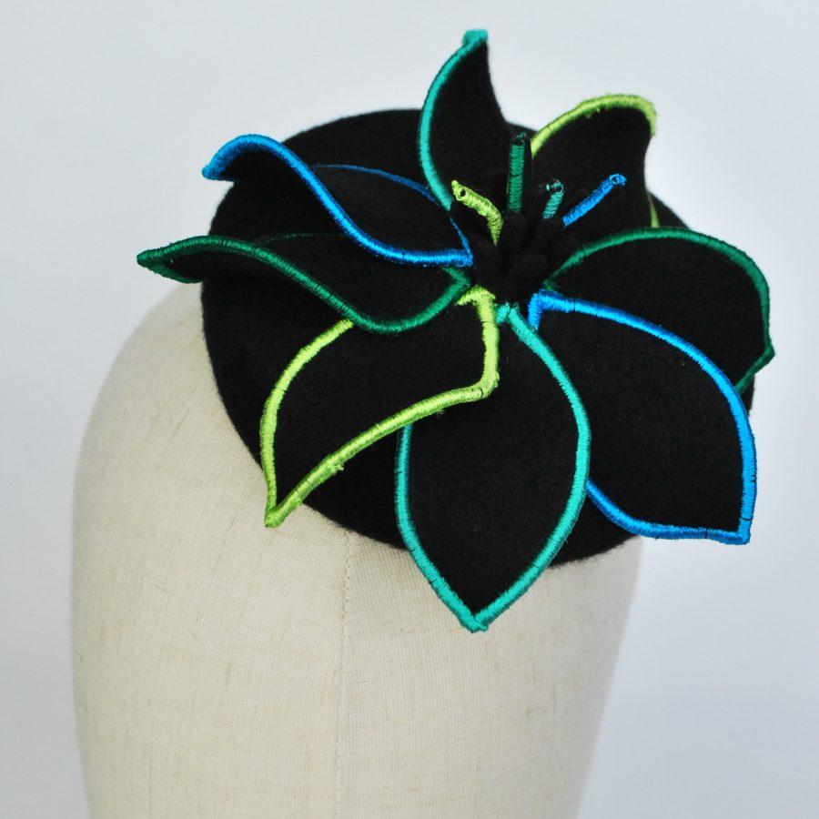 Black Cocktail hat worn by Dame Sarah Thornton