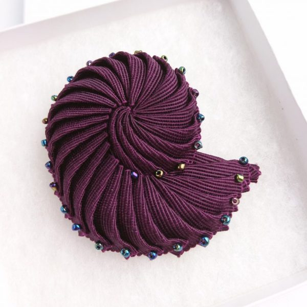 Plum Purple beaded brooch