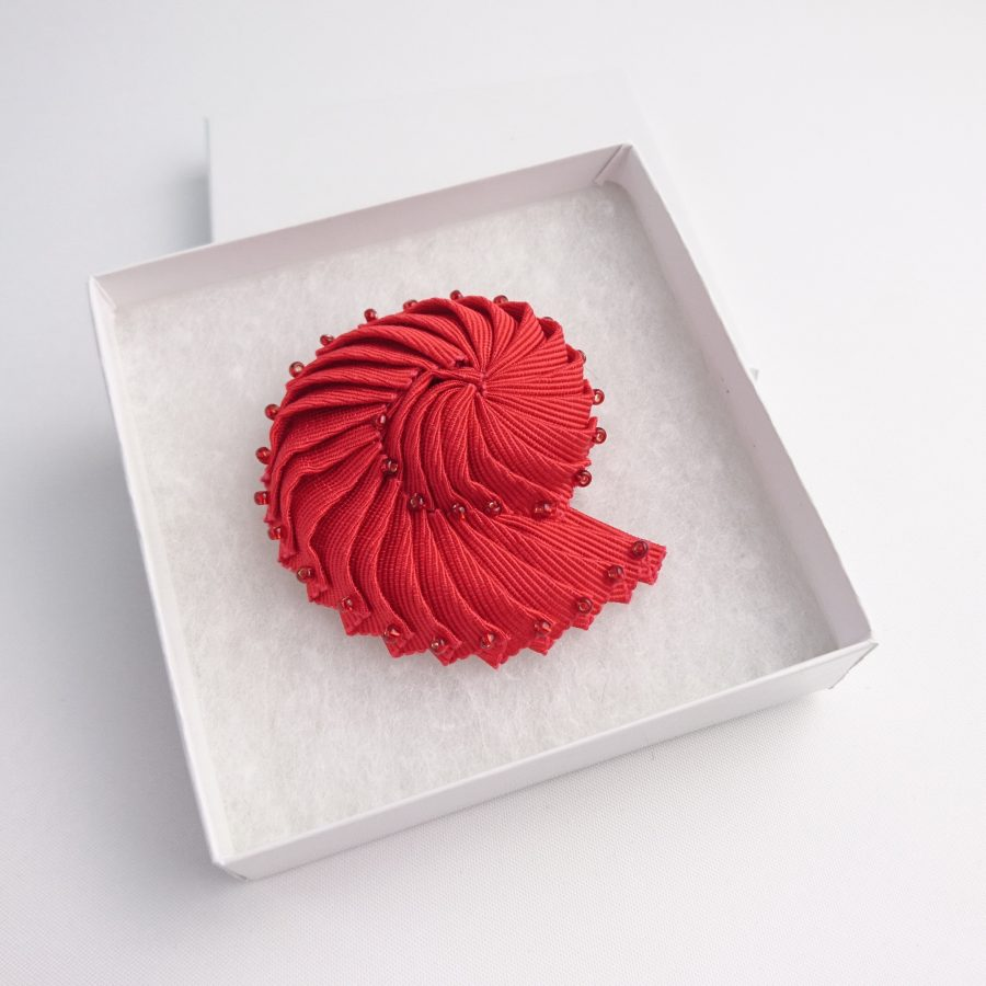 Beaded Shell Brooch in gift box