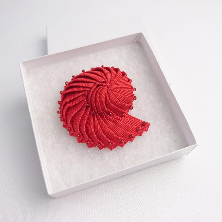 Beaded Shell Brooch in gift box