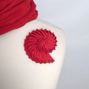 Red Nautilus Brooch