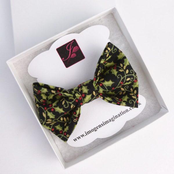 Black Christmas Holly Bow Hair Clip in a box