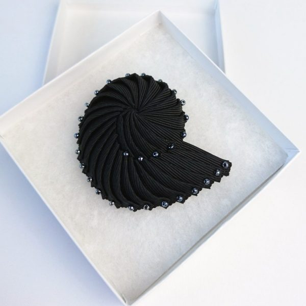 Black Pleated Ribbon Brooch with Pewter Beads in gift box