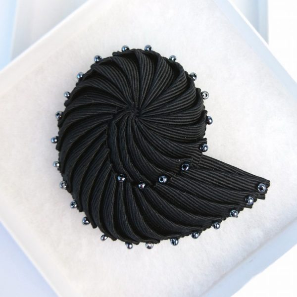 Black Pleated Ribbon Brooch with Pewter Beads