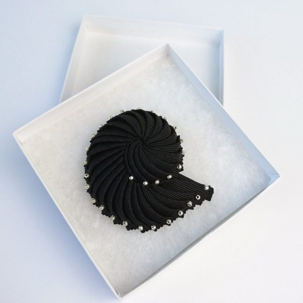 Black Ribbon Shell Brooch with Silver Beads in a box