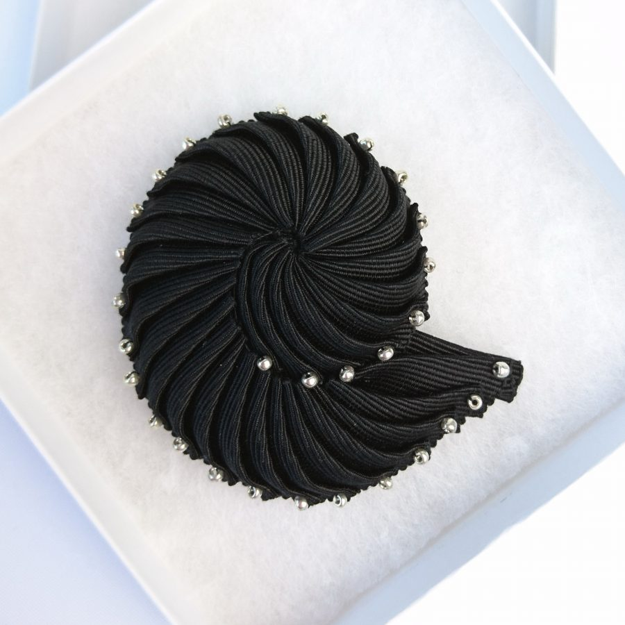 Black Ribbon Nautilus Shell Brooch with Silver Beads