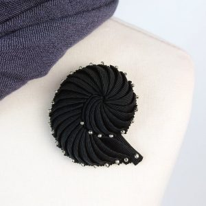 Black Nautilus Brooch with Silver Beads