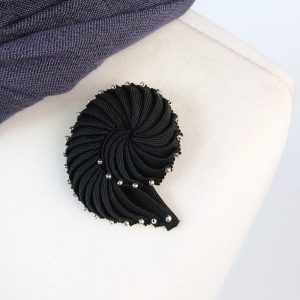 Black Pleated Ribbon Brooch with Silver Beads