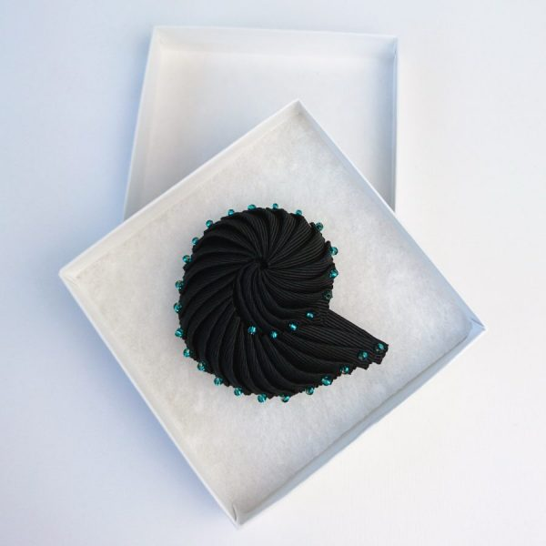 Black Ribbon Nautilus Shell Brooch with Turquoise Beads