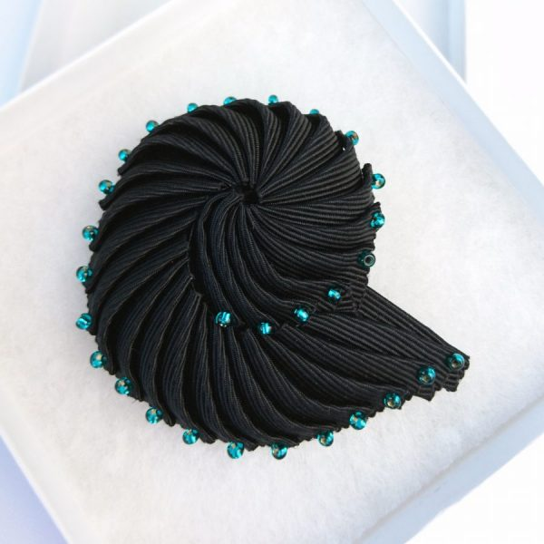 Black Pleated Ribbon Brooch with Turquoise Beads in a box