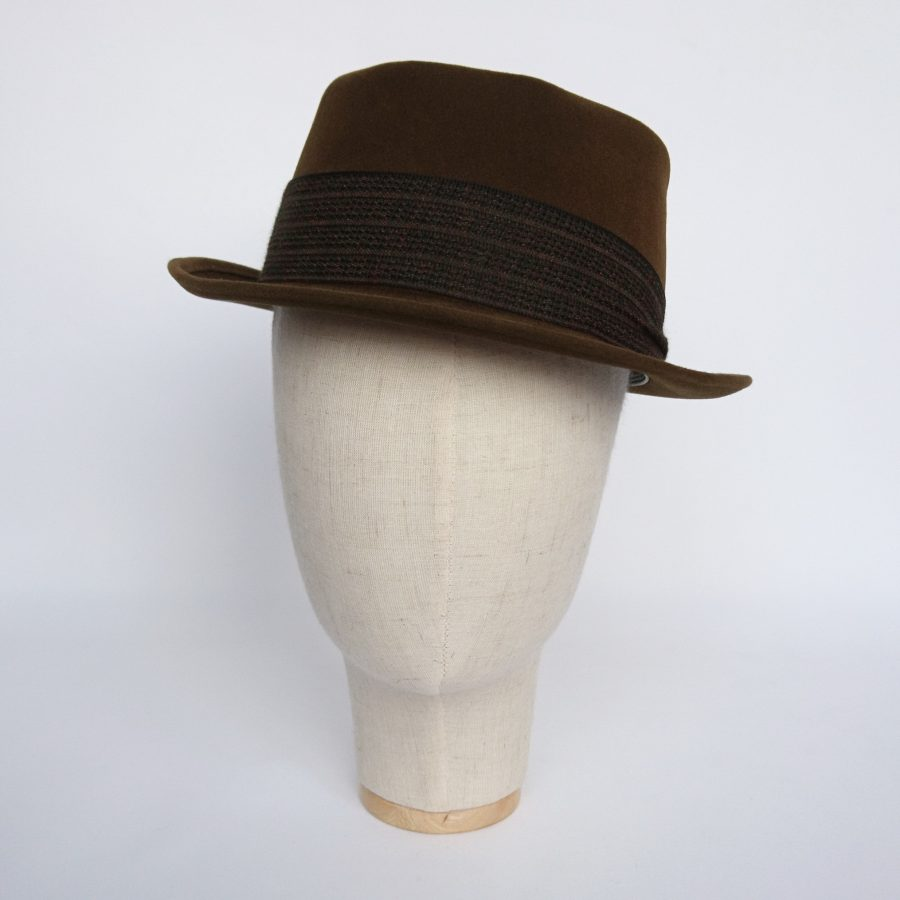 Brown Velour Fur Felt Trilby Before Front
