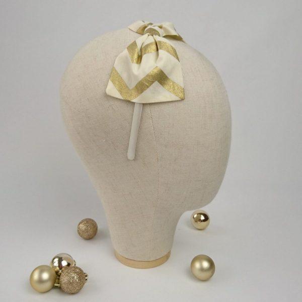 Gold chevron hair bow