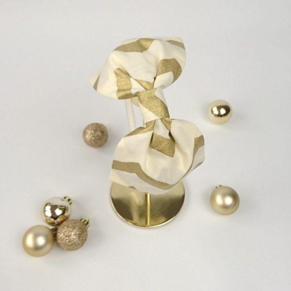 Gold Chevron Christmas Bow Headband