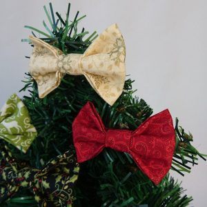 Gold and Red Christmas Bow Hair Clips