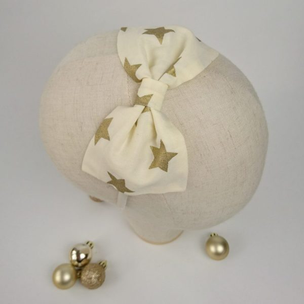 Gold Star Christmas Party Hair Bow
