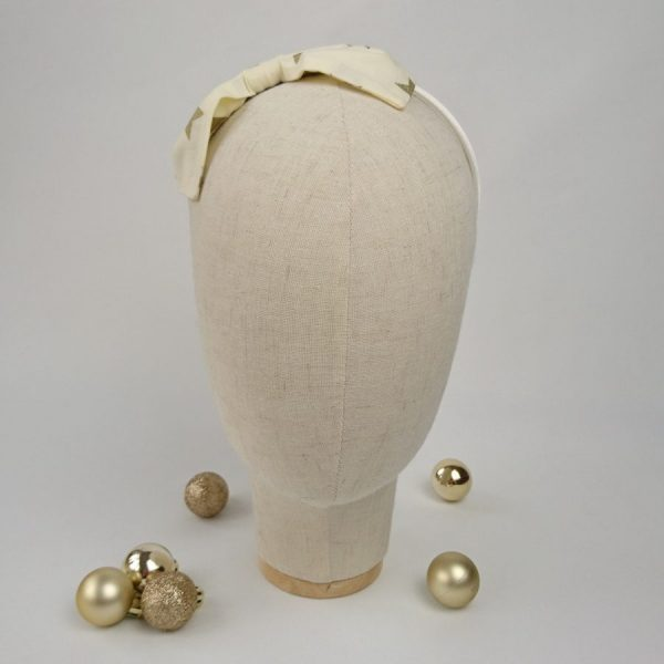 Gold Star Christmas Girls Bow Headband