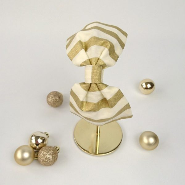 Gold Stripe Christmas Bow Headband