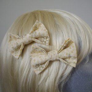 Cream and Gold Christmas hair bow