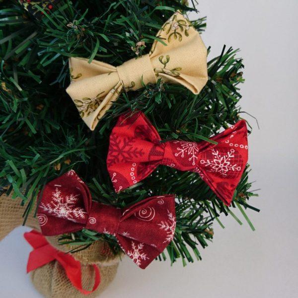 Mistletoe and Snowflake Christmas Bow Hair Clips