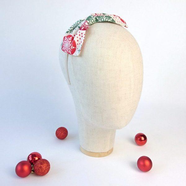 Red Green Snowflake Christmas Hair Bow