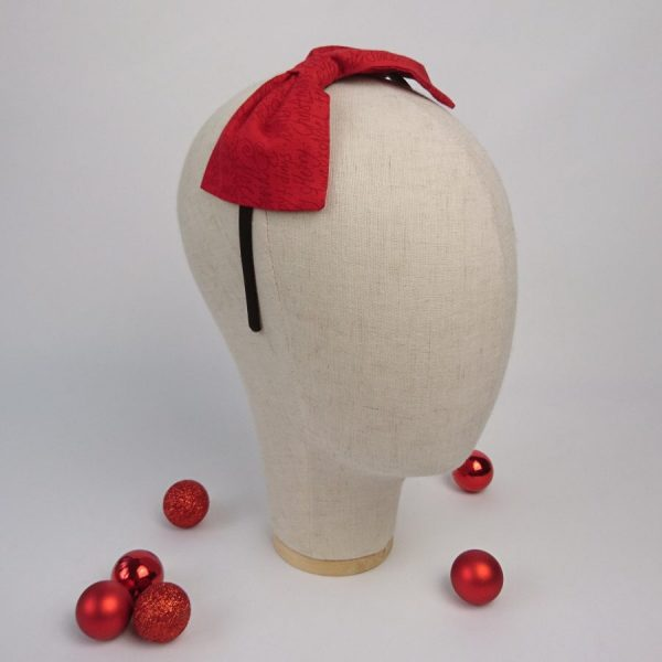 Red Greetings Christmas Hair Bow