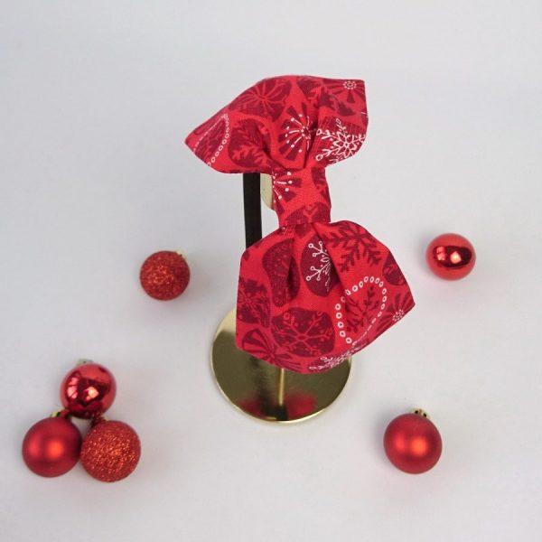 Red Christmas Snowflake Bow Headband
