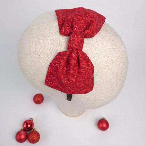 Red Christmas Girls Bow Headband