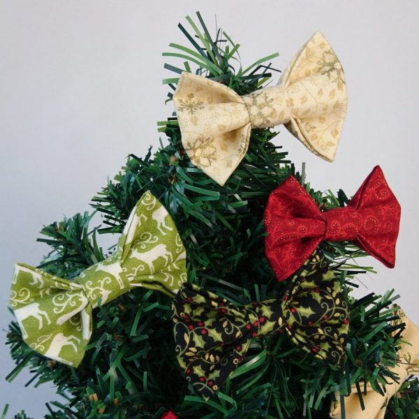 Green Gold and Red Christmas Bow Hair Clips
