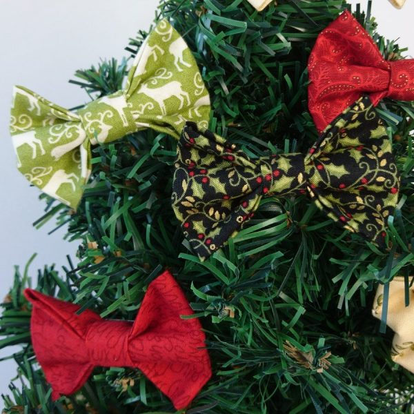 Green Black and Red Christmas Bow Hair Clips