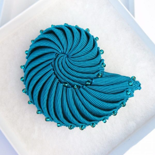 Turquoise Nautilus Brooch with Beads